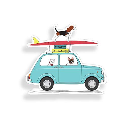 Dog Surfing on Car Sticker Beach Ocean Surf Cooler Laptop Vehicle Window Bumper Vinyl Decal Graphic
