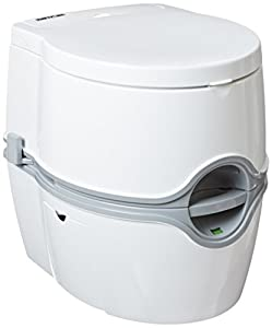 [VERSATILITY]: Award-winning, top-of-the-line portable toilet, suited for RVs, boats, trucks, vans, healthcare, medical, camping and even off-the-grid lifestyle, with a 4 gallons fresh water tank capacity and a 5.5 gallons waste water capacity [DESIG...