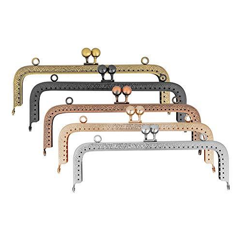 PandaHall 5 Colori 20cm Telaio in Metallo della Borsa della Struttura del Metallo Bacio Chiusure Portamonete clic clac per la Borsa Che Fanno DIY mestiere retrò Pochette Coin Purse Frames