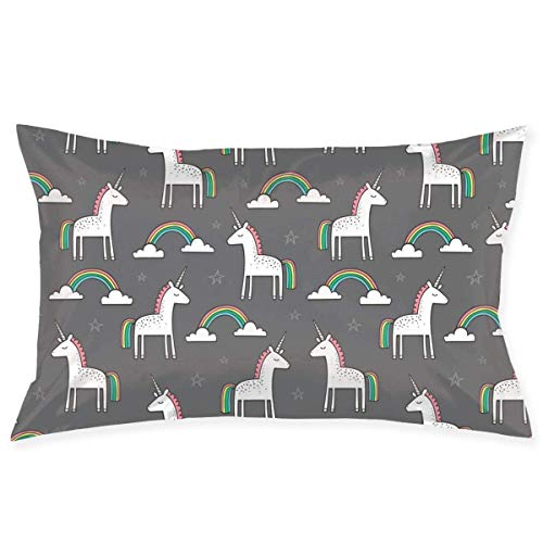 okstore1988 Decorative Pillowcases Pillowcase Unicorns Cute Rainbow On Dark Grey Decorative Pillow Cover Soft and Cozy, Standard Size 20'x30' with Hidden Zipper Cushion Covers