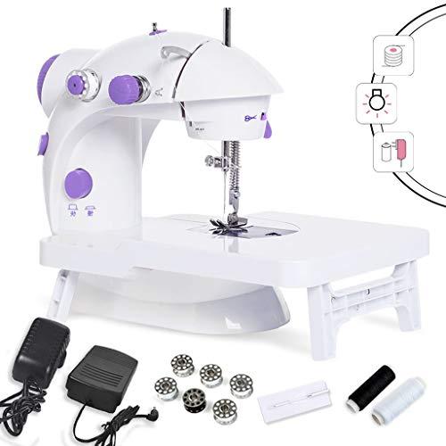 Naaimachine voor beginners, mini-naaimachine met uittrekbare tafel, verstelbaar, 2 snelheidsniveaus, wit + violet