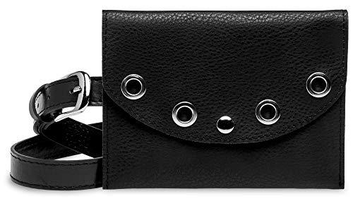 Caspar TS1062 kleine elegante Damen Gürteltasche mit Gürtel, Farbe:schwarz, Gürtelgröße:M [Körperumfang 76-88 cm]
