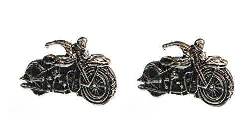 magdalena r. Manschettenknöpfe Motorrad Bike silberfarben glänzend + schwarz gelackt + Geschenkbox