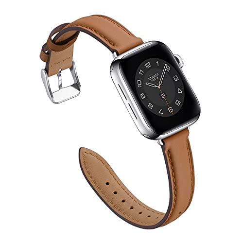 Correa de reloj de 40 mm, 44 mm, 38 mm, 42 mm, correa de repuesto de cuero suave para iWatch Series SE 6, 5, 4, 3, 2, 1, para mujeres y hombres (38 mm, 40 mm), color marrón y plateado