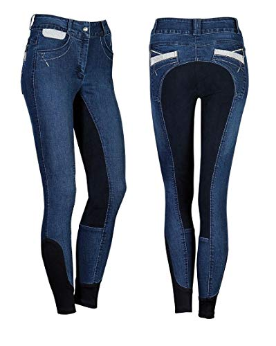 netproshop Damen Jeans-Reithose, Silberne Akzente, Vollbesatz, Velouroptik Gr.42-46, Groesse Damen:42, Farbe:Dunkelblau