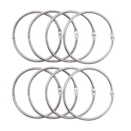 Luckkyme 8Pack Loose Leaf Binder Rings Nickel Plated Book Rings Key Chain Rings 3.9 Inches