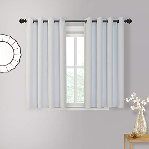 "MYSKY HOME Kitchen Window Tiers Blackout Curtain Panels - Grommet Top Thermal Insulated Window Valance Treatment Blackout Draperies for Living Room, 52"" Wide x 54"" Long, Grey, 1 Pair"
