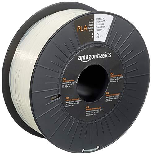 AmazonBasics - Filamento per stampanti 3D, in polilattato (PLA), 1,75mm, traslucido, 1 kg per bobina