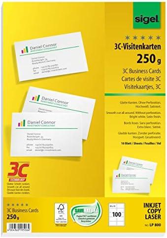 SIGEL LP800 Lot de 100 Cartes de visite 3C 85 x 55 cm 250 g