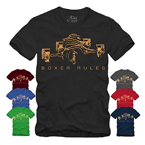 Boxer Rules - Motor Golddruck T-Shirt S-XXL Motorsport R100 Geschenke für Motorradfahrer Biker (M, Navy)