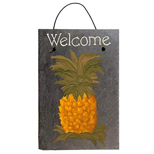 Welcome Pineapple Chalk Art Painted Sign on 12 by 8 Inch Slate Board