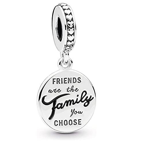 Annmors Abalorios Charms Friends are Family Colgante de Cuentas Plata de Ley 925 con Compatible con Europeo Pulsera Collar,Charms de Festival Cumpleaños Para Mujer Niña