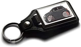 Koolart Cartoon Car Fiat 500 Side View Leather and Chrome Keyring Choose a Colour (Black)