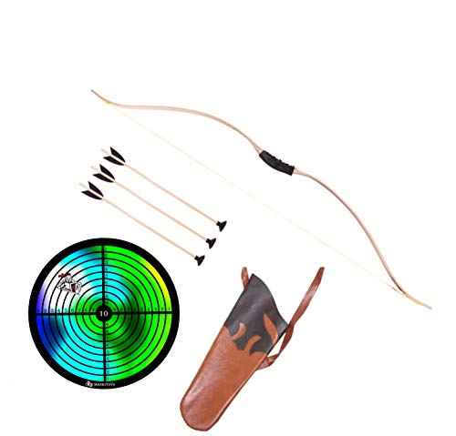 Mankitoys - Arco per bambini, 120 cm, con avvolgimento, 3 freccette con ventosa e bersaglio, custodia, dispositivo sportivo per bambini dai 14 anni in su, tiro ad arco, arco per cani