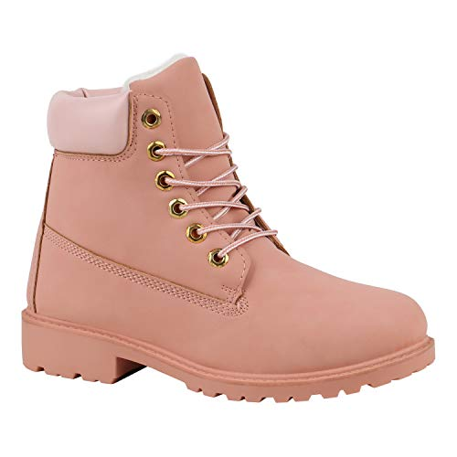 Stiefelparadies Warm Gefütterte Worker Boots Damen Outdoor Stiefeletten Robust Rosa Pink 38...
