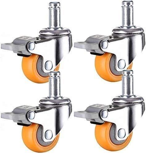 Giratorias vástago de la ruedecilla PC Material de Ruedas Resistentes al Desgaste 120kg Capacidad for Silla Tabla de Flores se paren los pequeños Dispositivos (Color : Brake, Size : 2in)