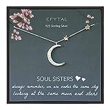 EFYTAL Best Friend Gifts, 925 Sterling Silver CZ Crescent Moon &...