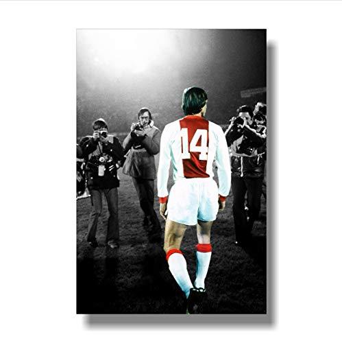 Stampa su Tela Quadro Senza Cornice La Leggenda del Calcio Olandese Poster di Johan Cruyff Decorazioni per La Casa A591 (40X50Cm) Senza Cornice