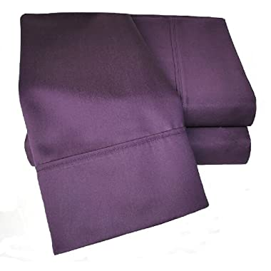 Cotton Blend 1000 Thread Count, Deep Pocket, Soft, Wrinkle Resistant 4-Piece Queen Bed Sheet Set, Solid, Plum