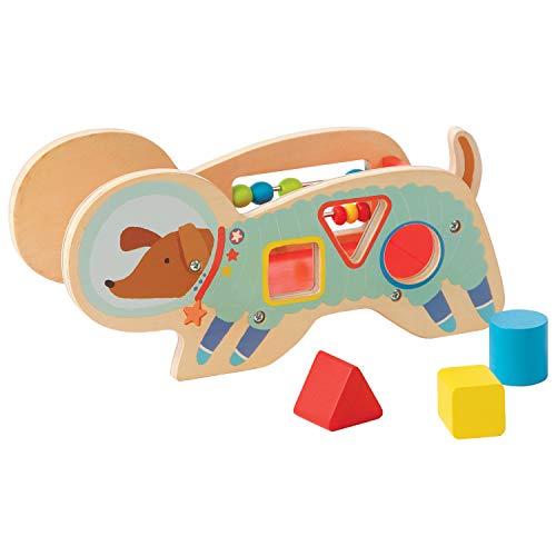 Manhattan Toy trieur de Forme en Bois avec Queue élastique et Course de Perles Space Dog, 218370, Multi