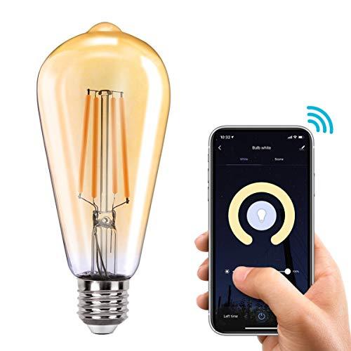 Orbecco WLAN Smart LED Glühbirne, E27 7.5W ST64 Filament Retro Edison Glühlampe, Dimmbar Glühfaden mit 2700K Warmweiß Licht, APP/Sprach Fernbedienung Kompatibel mit Alexa Google Home IFTTT - 1 Pack
