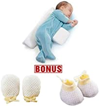 Baby Sleep Pillow | Head Side Support Shaped, Washable Nursing Pillows for Toddlers, Anti-Spitting Milk, Bonus Anti-Scratch Mittens & Socks