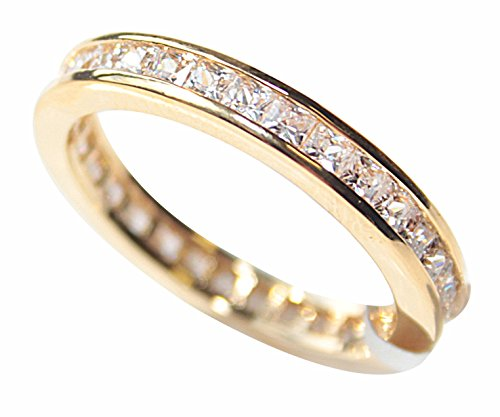 Women's GIFTBOXED Genuine Gold Filled 18K Eternity Ring. UK Guarantee: 3µ / 10 years. Princess Cut Simulated Diamonds. 2.8GR Total Weight.