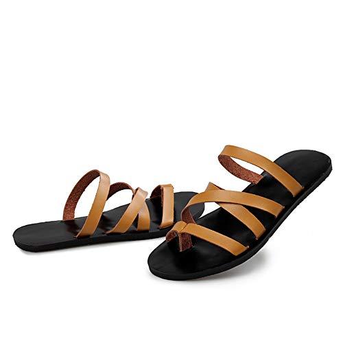 Hombres Sandalias de Cuero Zapatillas Peep Toe Anti deslizable Zapatos de Playa Verano al Aire Libre Calzado de Agua Casual para la Actividad de la Piscina de baño de Sol