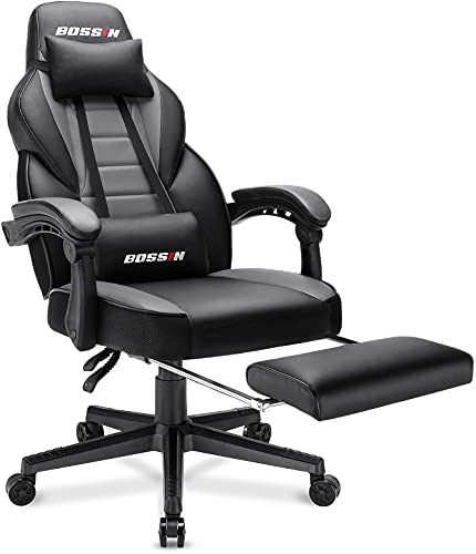 BOSSIN Racing Style Gaming Chair, 400LBS Leather Computer Desk Chair with Footrest and Headrest, Ergonomic Heavy Duty Design, Large Size High-Back E-Sports, Big and Tall Gaming Chair (Gray)