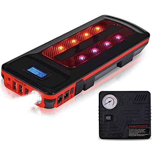 Arrancador de Coche -Jump Starter 800A/22000mAh Arrancador Coche, Ultra-Seguro Arrancador de Baterias de Coche (Pinzas Inteligentes, USB de CargaRápida, LEDLuz, Pantalla LCD)