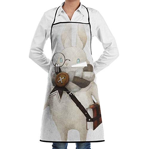 QIAOJI Unisex verstellbare Kochschürze mit Tasche A Little Bunny mit Schulranzen-Lätzchen, Schürze, Küchenschürze, verstellbare extralange Bänder zum Grillen, Backen und Kochen, Schwarz