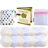 Baby Bliss Discos de Lactancia Lavables de Bambú (Set de 14 Almohadillas de Lactancia, Bolsa de Viaje y Bolsa de Colada), Pezoneras Absorbentes Hipoalergénicas y Reutilizables - Blanco/Beige, 10cm
