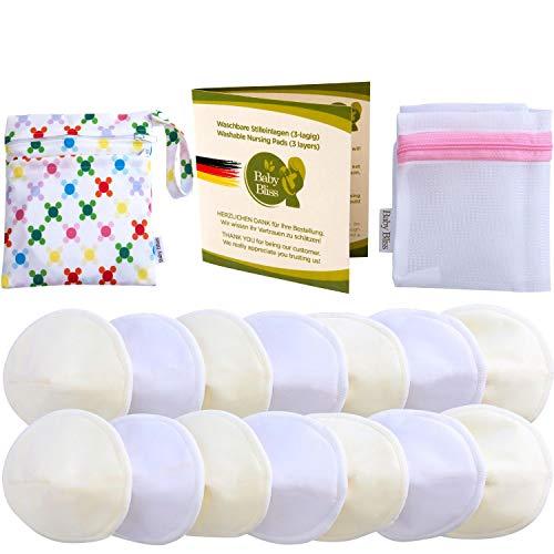 Baby Bliss Bambu-Amningskupor, Tvättbara (14-Pack), Konturerade, Ultraabsorberande, Läckagesäkra, Extra Mjuka, Diskreta (Vit/Beige, 12cm)