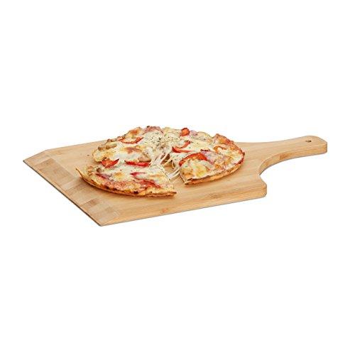 Relaxdays Pizzaschaufel Bambus, 45 x 30 cm, als Pizzaschieber, abgerundete Kanten, mit Griff, Brotschieber, natur