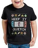 style3 Keep it Switch Suéter de Navidad Camiseta para Niños T-Shirt Lite T-Shirt Ugly Sweater x-mas SNES, Talla:164