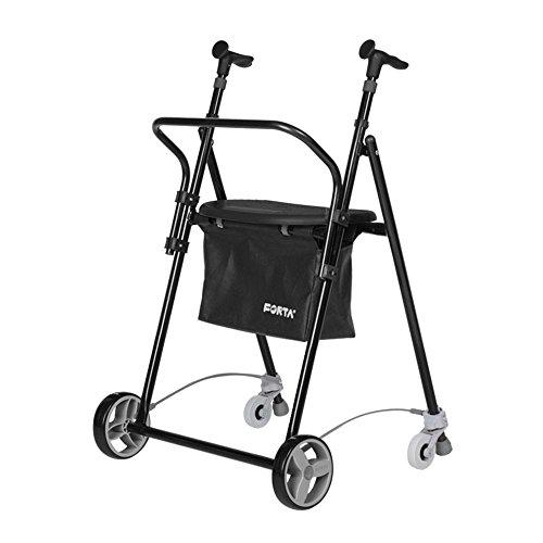 Andador para Ancianos, de acero plegable, con Frenos traseros, con Cesta Asiento y Respaldo, color negro