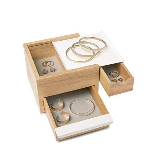 Umbra Mini Stowit Jewelry Box - Modern Keepsake Storage Organizer with Hidden Compartment Drawers