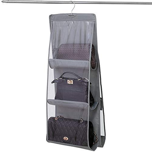 Limeo Handtaschen Ablage Speicher Handtasche Kleiderschrank Veranstalter Taschen Closet Closet Organizer Faltbar für Taschen, Klar, zum Aufhängen im Kleiderschrank, Platz Sparend, Grau