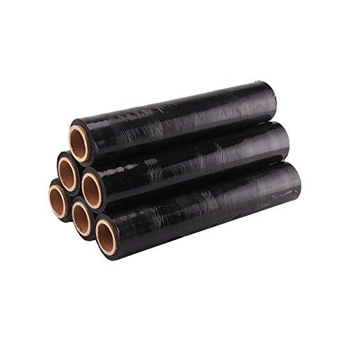 MultiWare 6 Rouleaux de Film Plastique Etirable Résistant Film Protecteur Extensible pour Emballage et Palette 400 mm Noir