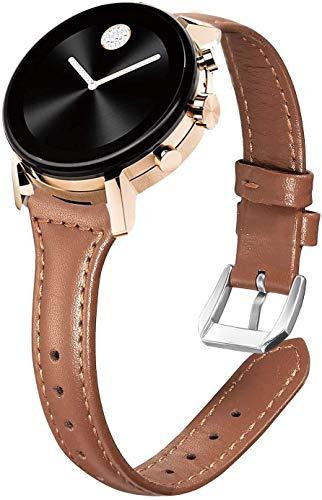 LvBu Armband Kompatibel mit Movado 2.0, Quick Release Leder Classic Ersatz Uhrenarmband für Movado Connect 2.0 Smartwatch 40mm / 42mm (Braun)