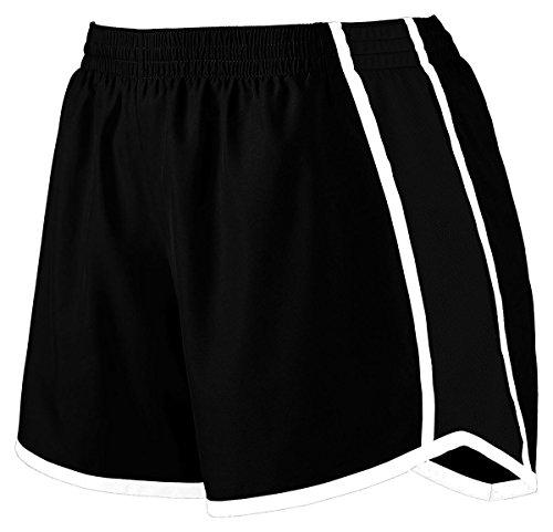 Augusta Sportswear Women's Junior Fit Pulse Team Short, Black/Black/White, Large