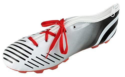 Idena 20082 Faulenzer Schüleretui in Schuhform mit Schnürsenkel, perfekt für Schule, Uni und Büro, ca. 23 x 7,5 x 8 cm, schwarz-weiß, bunt