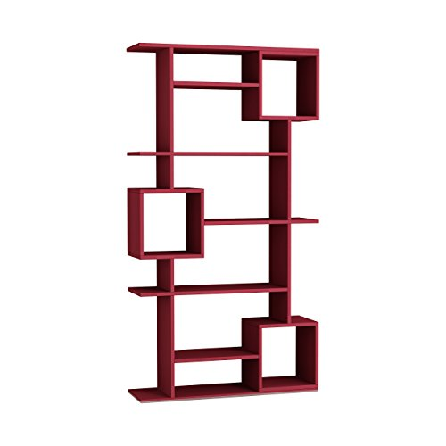 Ada Home Decor Briscoe Modern Burgundy Bookcase 50.2'' H x 49.2'' W x 8.66'' D/Shelving Unit/Bookshelf
