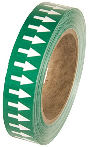 Incom Manufacturing: PMA152 Directional Flow Arrow Pipe Identification Vinyl Marking Adhesive Tape, 1 inch x 108 ft, Green/White