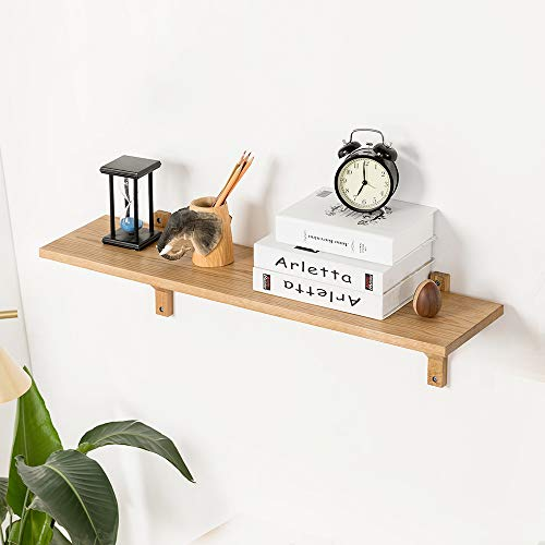 INMAN Drijvende plank Effen OAK WOOD Wandplank Decoratieve Opknoping Display Rack Opslag Organizer met Beugels voor Slaapkamer, Woonkamer, Badkamer, Keuken, Kantoor