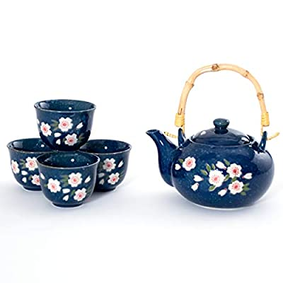 Japanese Style Indigo Blue Porcelain Plum Blossom Umei Tea Set Ceramic Teapot with Rattan Handle and 4 Tea Cups Gift Packaging