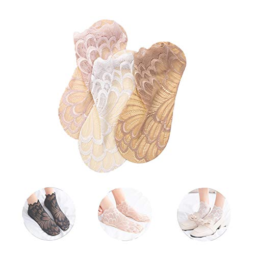 TYHJ 3/6 Pairs Amazing Crystal Peacock Sock, Lace Ankle No Show Socks for Women, Hollow out Ultra-Thin Breathable Fishnet Invisible Socks (3 Pairs)