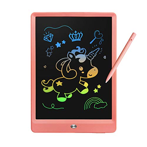 Derabika Girls Toys Birthday Gift for 3 4 5 6 7 Year Old Girls, 10 Inch Colorful LCD Writing Tablet Drawing Board, Erasable Drawing Tablet Doodle Board Toddler Learning Toys for Girls Age 2-7 (Pink)
