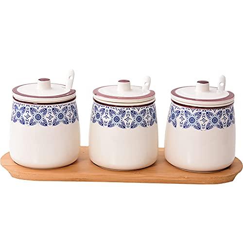 Vintage handgeschilderde keramische kruidenpot,porselein kruiderij jar spice container met deksels,lepels,houten…
