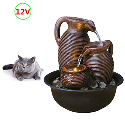 FANFAN 【Power Supply with Transformer】 Indoor Tabletop Waterfall Fountain Table top Mini Water Fountain Decorative pet cat Drinking Water Fountain with led Lights